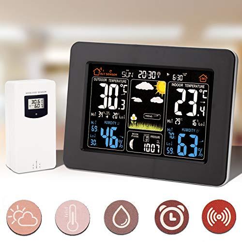 Hengda Funkwetterstation mit Außensensor und Alarme, Wettervorhersage, Temperatur, Feuchte, Barometer Wetterstation für Zuhause Büro Hausgarten