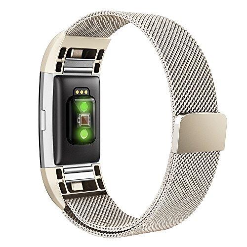 Fitbit Charge 2 Band,Simpeak Edelstahl Ersatzband Straps Armband für Fitbit Charge 2,Klein,Champagner (Champagner-mesh)