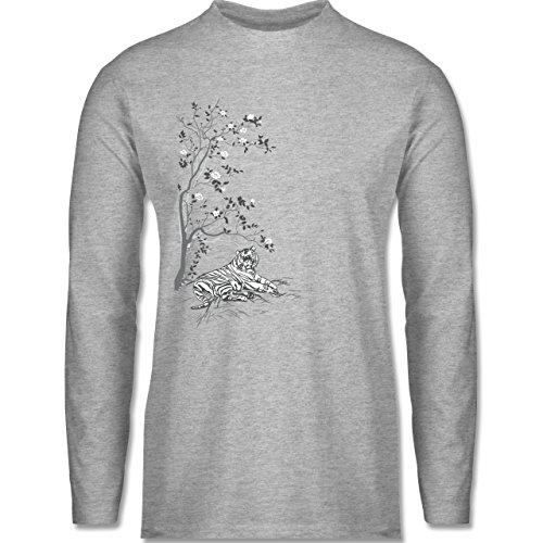 Shirtracer Vintage - Tiger Kirschblüten Baum - Herren Langarmshirt Grau Meliert