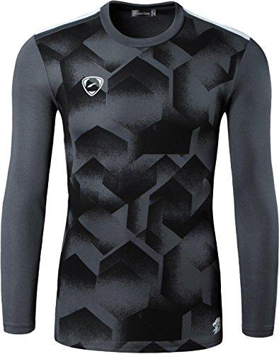 jeansian Uomo Moda Formazione Manica Lunga Sportivo Casuale Palestra Fashion Tee T-Shirts Camicie LA184 LA213_DarkGray