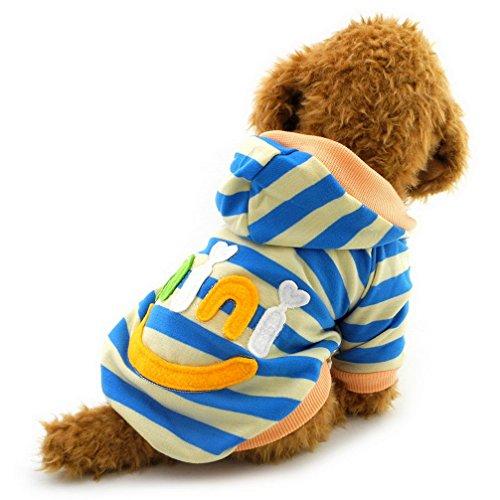 ranphy Kleiner Hund Kleidung für männlich weiblich Mini Smile Patch gestreift Sweatshirt Shirt Fleece Pullover (Halloween Outfits Männliche)