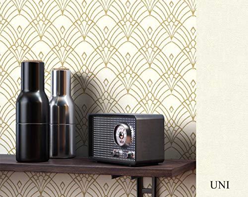 NEWROOM Tapete grafisch beige Muster Tapeten der 50er Art Deco Vliestapete Vlies Tapete Luxus Glamour inkl. Tapezier Ratgeber ǀ Grafik