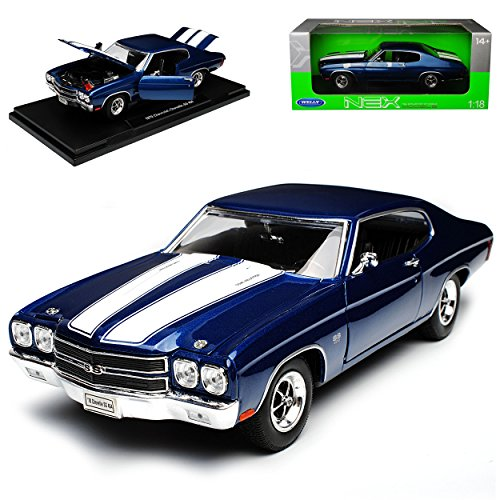 Welly Chevrolet Chevy Chevelle SS454 Coupe Blau mit Weiss 2. Generation 1968-1972 1/18 Modell Auto - Chevelle Chevy 1968