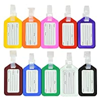 5Pcs Plastic Luggage Tags Labels with Name Card and Adjustable Strap Bag Travel Accessories ,Color Random