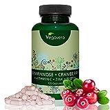 D-Mannose PLUS | Mit Cranberry | LABORGEPRÜFT und ZERTIFIZIERT | Natürliche Blasenkur | 120 Kapseln | Kombipräparat mit Vitamin C - Biotin - Zink | Vegan | Vegavero: from Nature - with Passion - for You!