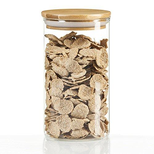 tarros 250 ml latas de Cristal tarros de Especias gouveo Set de recipientes de Cristal de borosilicato con Tapa de bamb/ú Tarro