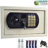 Bakaji fuerte a pared numérica digital 31 x 20 x 20 cm caja de seguridad electrónica casa Albergo Hotel Safe + 4 x AA pilas y llaves de emergencia color beige …
