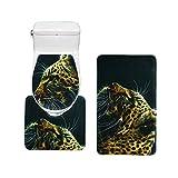 Bearbae Tapis de bain Tapis de WC Lot de 3Pièces de salle de bain antidérapant lavable pour abattant Imprimé léopard Noir