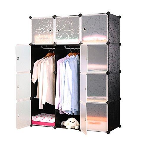 HENGMEI Kleiderschrank Garderobenschrank Steckregalsystem Regalsystem 12 Boxen Schuhschrank Badregal Aufbewahrungssystem mit Tür (Schwarz)