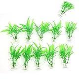 10 Stück Aquarium Dekoration Kunststoff Pflanze grün Saugnapf Basis Stehen gut de