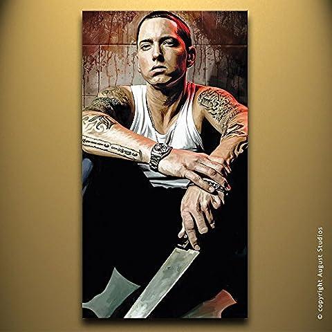 Eminem Rap Hip Hop originale Artista firmato pittura poster Stampa Su Tela # 1, Tela, 18
