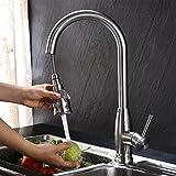 KINSE Wasserhahn Armatur 360° drehbar Spültischarmatur mit herausziehbarem /Ausziehbar Brause Einhebelmischer Wasserhahn Küchenarmatur.