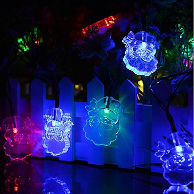 SQL Solarbetriebene led string licht santa claus porträt 0,5 watt 10lm 2 v 6 meter 30 leds multi farbe / warmweiß / weiß , 2v (Multi-string-licht)