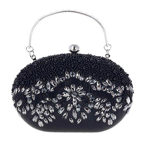 Damara® Perlen Abschlussball Henkel Damen Clutchtasche Handtasche Gold