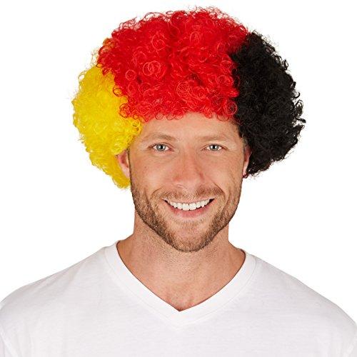 Perücke Deutschland Afro | Tolle Lockenpracht | Bestens für Fan-Veranstaltungen und auch für Fasching geeignet (Pin Up Modell Kostüm)
