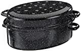 axentia Gansbräter schwarz/weiß 34 cm, Emaille-Bräter mit Deckel, hochwertiger Bräter aus Emaille induktionsgeeignet, pflegeleichter Bratentopf Volumen ca. 4,5 Liter oval, Deckel als Pfanne verwendbar