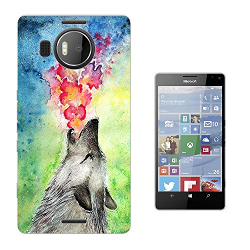 002713 - Colourful Wolf Husky Animal Howling Floral Roses flowers Design Microsoft Nokia Lumia 950 XL Fashion Trend Silikon Hülle Schutzhülle Schutzcase Gel Rubber Silicone Hülle