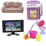 Fully 5tlg./Set Spielzeug für Barbie Puppen 1x Couch Sofa Sessel Kissen + 1X Waschmaschine + 1x Fernsehen TV + 4er Reinigung Werkzeuge Set + 1x Toilette