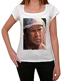 Bruce Willis, tee shirt femme, imprimé célébrité,Blanc, t shirt femme,cadeau