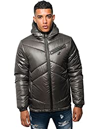 Kangol Mens Designer Puffer Jacket Zip Up Hooded Quilted Bubble Winter Coat