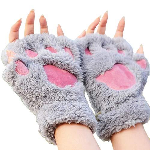 joyliveCY Invierno precioso oso de gato garra de la pata de la pata guantes de felpa guantes de mujer media cubierta guantes femeninos