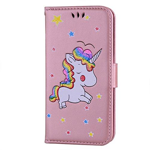 Ailisi Funda Samsung Galaxy S6, [Unicornio] PU Leather Carcasa, Anti-rayones Wallet Flip Case Cover con Cierre Magnético (Oro Rosa)