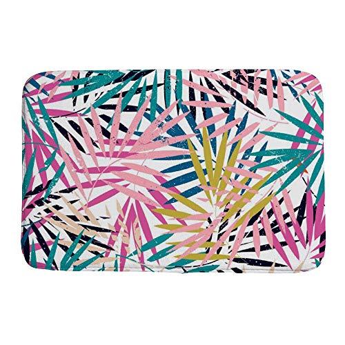 Sitear Bunte Palmenblätter zusammengestapelt {individualisiert, personalisierbar} Korallen-Samt Badezimmerteppich, weich, langlebig, rutschfest, saugfähig, Korallenvlies, Color1, 40 * 60 * 0.8cm
