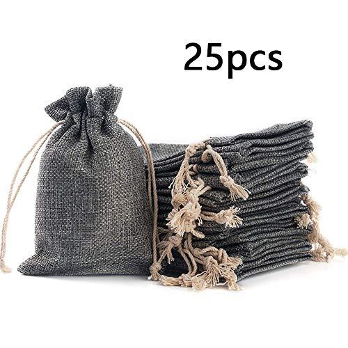 ToBeIT Jutesäckchen 25 Stücke 10 * 14cm Natur Säckchen - Jutebeutel Geschenksäckchen mit Tunnelzug klein Verpackung für Schmuck Hochzeit Party Feiern Weihnachten(grau)