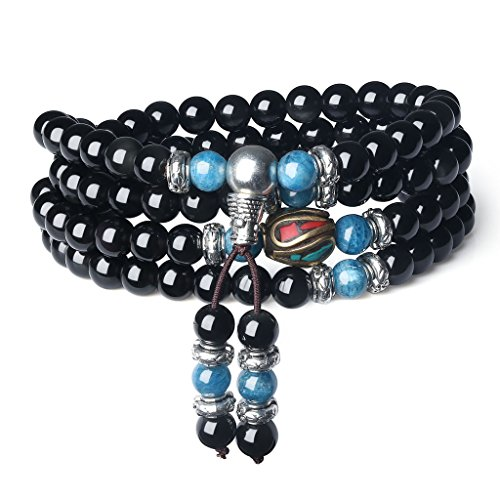 COAI® 108 Perlen Multilayer Tigerauge und Obsidian Mala Wickelarmband Gebetskette für Damen/Herren