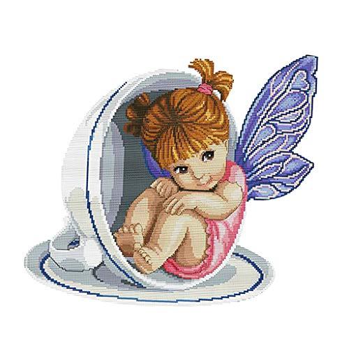 perfk DIY Handarbeit Kreuzstich Stickpackung Set Stickerei Stickset, Engel in der Teetasse Motiv Kreuz Stich für Kinder, Erwachsene, Anfänger -