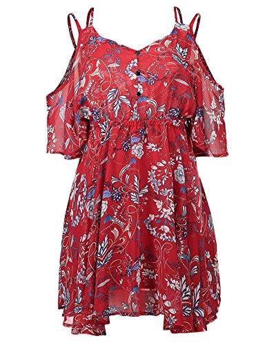 Minetom Damen Boho Kurze Ärmel Sommerkleid Strandkleid Casual Mini Schulter Chiffon V-Ausschnitt Kleider Rot DE 40
