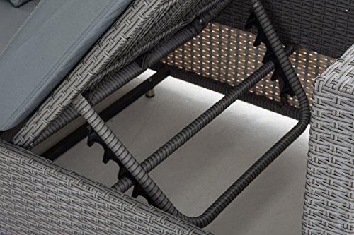 CLP flexibles Poly-Rattan 3er Lounge-Sofa SOLANO, ALU-Gestell, 4 Rattanfarben + 5 Kissenfarben, inkl. Auflagen Rattanfarbe: Grau, Kissenfarbe: Eisengrau - 5