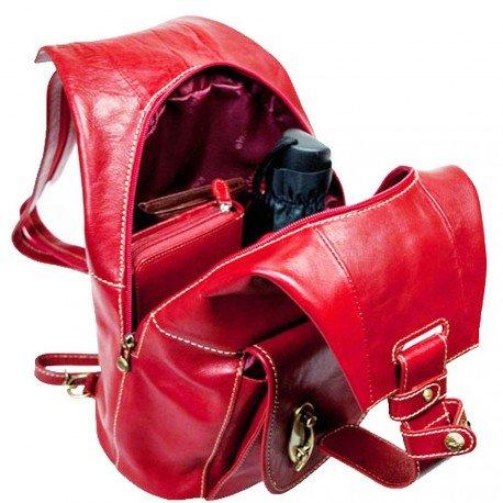 Charmoni - Sac à Dos De Ville Aux Bretelles Ajustable Boucle En Laiton Femme Homme En Cuir De Vachette Véritable Neuf Evette Rouge