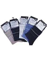 Anzugsocken mit dezenten Ringeln am Schaft, Herren-Socken ohne Gummi, Business Socke in 39/42 oder 43/46