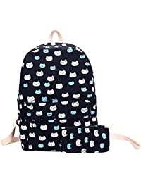 Zibuyu 2pcs Preppy Chic Girls Canvas Floral Printed Backpack Clutch Bag(Black)