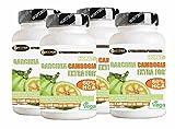 Garcinia Cambogia Extra Forte 1000 4 Confezioni 60 Compresse Porta Pillole Omaggio Bruciagrassi Favorisce la Perdita di Peso 60% di HCA Anti fame Riduce Appetito NO Glutine 100% Naturali Vegan