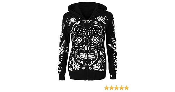 Higlles❤Sweat à Capuche Femme, Kangourou Hoodie Imprime Tête de Mort Papillon Sweat Shirt Hiver De noël