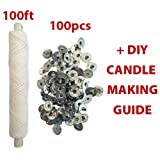 CozYours 25-lagige geflochtener Docht:30 m(100ft)Spule /100 Dochtfüße,Kerzendochte für die DIY Kerzenherstellung