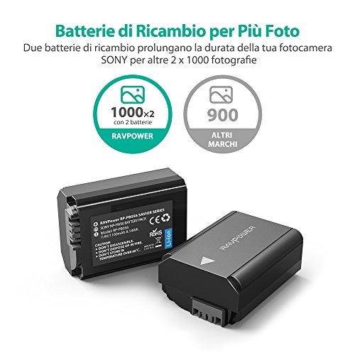 Sony-NP-FW50-RAVPower-2-Batterie-di-Ricambio-da-1100mAh-100-Compatibile-Sony-NEX-3-NEX-5-NEX-C3-NEX-F3-SLT-A33-SLT-A35-SLT-A37-SLT-A55V-Cyber-shot-DSC-RX10-Alpha-7-a7-7R-a7R-7S-a7S-Alpha-a3000-a5000-a