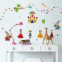 Wall Stickers Cartoon Castle Princess Knight Dragon Nursery Children