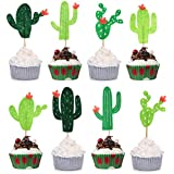 24pcs Cactus Cupcake Toppers Cupcake Picks For Cake Decorations Hawaii Party Favors Tropical Cacti Theme Summer...