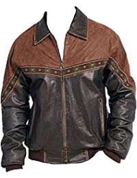 Bestzo Mens Fashion Real Cow Leather Martyn Jacket Black 5XL