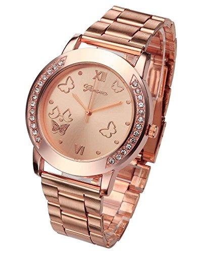 JSDDE Montre à Quartz Genève Bracelet alliages Strass Papillon Cadran Montre-Bracelet Femmes élégant(Or Rosen)