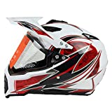 Woljay Cross Offroad Helm Motocross-Helm Fahrrad Für ATV MX Motocross Helm mit Sonnenblende Klar Weiß + Rot (M)