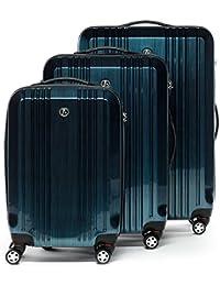 FERGÉ® ensemble de 3 valise serrure TSA CANNES - ABS & PC set trolley trois rigide léger grand - bagages à main 4 roulettes 360 degrés cabine Air France, EasyJet. homme et femme