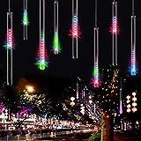 HanLuckyStars 20m/220V Tubo Meteor LED Luces de Cuerda multicolor ,Ideal para Fiesta de Navidad/Boda/Velada,Árbol de Navidad y calle