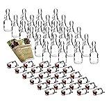 gouveo 48 Set Leere 40 ml Henkelflasche inkl. Bügelverschluss und 28-seitige Flaschendiscount-Rezeptbroschüre Flaschen Likörflaschen Schnapsflaschen Glasflaschen