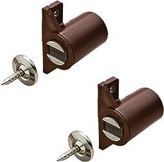Gedotec Schrank-Magnetverschluss braun mit Gegenplatte Magnetschnapper Tür zum Schrauben - H2062 | Türmagnet Haftkraft 4,0 kg | MADE IN GERMANY | 2 Stück zum Schrauben