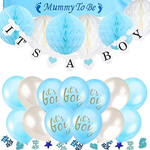 TopDeko Babyparty Deko Jungen, Baby Junge Deko Baby Shower Boy Deko mit It's A Boy Girlande, 6pcs Wabenbälle, Mummy to Be Schärpe, Konfetti Babyparty, 15pcs Luftballons für Baby Shower (Jungen Einen Für Babyparty-deko)