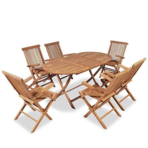 Premium Garten-Essgruppe Teak Holz Set 7-teilig   Braun imprägniertes Teakholz   Sitzgarnitur mit 6...